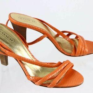 sz 8.5 NEW COACH orange PYTHON snakeskin strappy